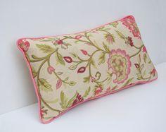Lumbar pillow, throw pillow, floral pattern, indian style cushion