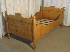 French Single Pine Sleigh Bed Lit Bateau - Antiques Atlas Wooden Sleigh Bed, Home Bedroom Design, Bed Design, Pine Beds, French Bed, Box Bed, Bed Lights, Bed Plans, Toddler Girls