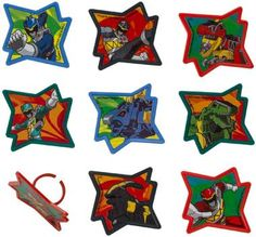 Give your homemade cupcakes a festive look with these Power Rangers Dino Charge Rings! The package includes 12 assorted plastic cupcake rings, our choice please. Please wash before using. Cupcakes are