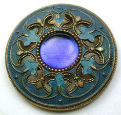 Antique-Gay-90s-Button-Blue-Jewel-w-Fancy-Painted-Pierced-Brass-Border-1-3-16