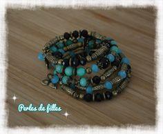 Bracelet multi rangs bohême, manchette à mémoire de forme, Amazonite bleu : Bracelet par perles-de-filles