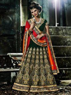 Green Velvet Lehenga Choli With Embroidery Work www.saree.com