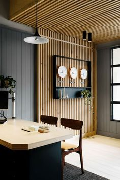 East Ivanhoe Travel & Cruise travel agency, interior by David Flack of Flack studio. This project is currently nominated in the 2015 Dulux Colour Awards. Wood Slat Wall, Wood Panel Walls, Wood Slats, Wooden Walls, Wood Paneling, Wood Slat Ceiling, Wooden Wall Panels, Paneling Sheets, Panelling