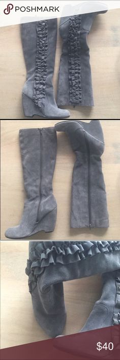 Mia Gray Ruffled Boots These are adorable gray ruffled wedge booties! They are comfortable and super cute! Gray Suede. In great condition! Only worn a few times, no damage....scuffs or dirt! (I've listed these for my sister in law for added exposure) Mia Shoes Winter & Rain Boots
