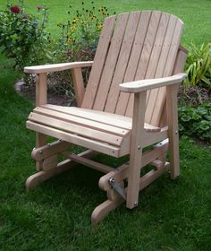 wodden yard glider chair | Amish Oak Barrel Glider Chair Wood Outdoor Furniture R