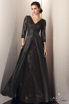 Elegant Lace and Satin Chiffon Evening Gown with Elbow Length Lace Sleeves 29567 at www.GownsBySimpleElegance.com