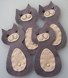 cute pussy cat felt embellishments by paper-and-string-on-flickr, via Flickr