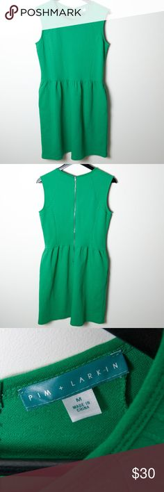 Pim + Larkin Kelly Green Fit Flair Dress Medium Great preloved condition, no noticeable holes, rips or stains. This kelly green fit and flair dress from Pim+ Larkin can be work dressed up or down. Green on green texture. Side pockets, back zipper. Pim + Larkin Dresses Midi