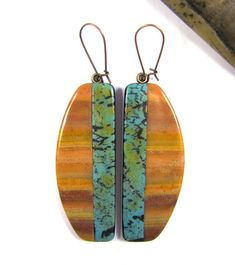 Polymer Clay Earrings - Southwestern Landscapes Series - Chuparosa Hummingbird Earrings
