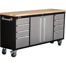 black rolling workbench with stainless steel the home depot - Rolling Workbench