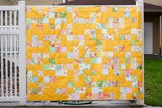 "https://flic.kr/p/9BV1hK | Dream On - Finished | - 71""x88"" washed - 4 Dream On charm packs + 4 yards Kona cotton in Corn Yellow - Backed with a vintage sheet - Bound in Dream On yardage and scraps  <a href=""http://incolororder.blogspot.com/2011/04/dream-on-quilt.html"" rel=""nofollow"">Blogged</a>"