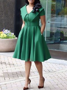 Shop latest fashion woman dresses Solid Color Turndown Collar Dress (With Belt) … Short African Dresses, Latest African Fashion Dresses, African Print Fashion, Women's Fashion Dresses, Dress Outfits, Latest Fashion, Womens Fashion, Fashion Fashion, Fashion Trends