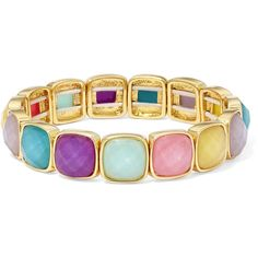 Liz Claiborne Multicolor Stone Gold-Tone Stretch Bracelet ($16) ❤ liked on Polyvore featuring jewelry, bracelets, goldtone jewelry, stone jewellery, liz claiborne jewelry, gold tone jewelry and tri color bangles