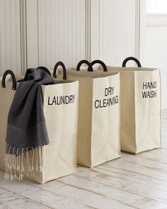 Laundry Totes by Dransfield & Ross at Horchow. Good idea for baskets in laundry room Shanty 2 Chic, Traditional Hampers, Laundry Sorting, Laundry Bags, Laundry Baskets, Canvas Laundry Bag, Laundry Labels, Laundry Storage, Storage Baskets