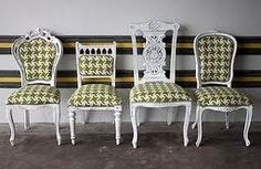 Like this idea. Same paint color and fabric! mix and match dining room chairs