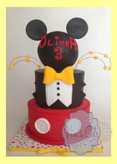 Master of Ceremony Mickey Mouse Cake  - Topper cake is fondant over butter cream using my wrapping technique to get sharp edges and bottom is all buttercream. topper is Styrofoam ball covered in fondant