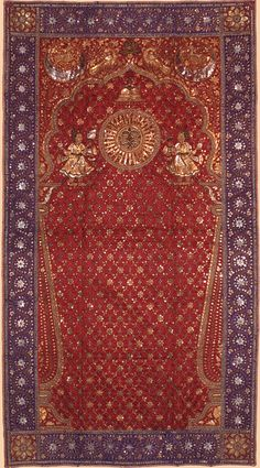 Antique Indian Textile. Rajestan or Gujarat Silk Plain Weave with Silk and Gold Gold Thread Embroidery in Chain, Couched and Stem Stitches and Laid Work; Spangles.   Mughal Dynasty  1526-1857A.D  Circa 1850