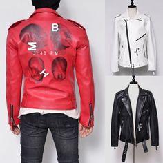 Funky Back Print Belted Biker-Leather 106