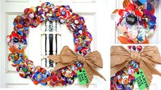 Why have you been washing and saving all the food packaging this year? For this year's Earth Day project...a flower wreath for our front door that was an inspiration from a Pinterest fabric flower scarf.