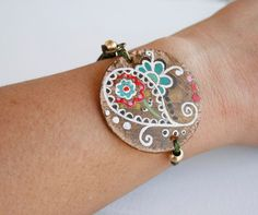 Bohemian Leather Bracelet hand painted adjustable by vickygonart