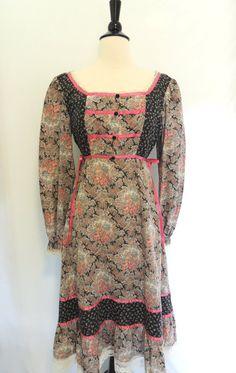 70s boho print dress.