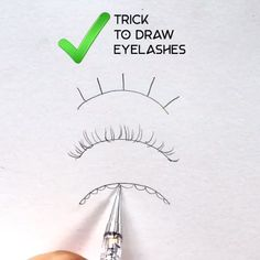 # pencil art drawings Simple tip to draw eyelashes Cool Art Drawings, Pencil Art Drawings, Easy Drawings, Drawing Faces, Cool Simple Drawings, Gesture Drawing, Realistic Drawings, Doodle Art Simple, Drawings Of Eyes