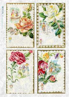 Ryžový papier Kvetinové pohľadnice