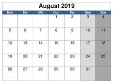 August Kalender 2019 Word September Kalender, November, Planer, Periodic Table, Calendar, Words, Juni, Schedule, Holiday