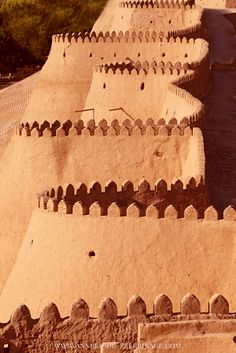 The red city walls of Khiva, Uzbekistan