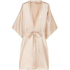 Stella McCartney Clara Whispering lace-trimmed silk robe ($325) ❤ liked on Polyvore featuring intimates, robes, lingerie, underwear, pajamas, sleepwear, pink, lingerie robe, kimono bath robe and pink kimono