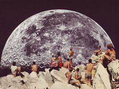 Rising moon on a cliff in a 60's lie