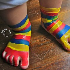 Painted Socks by lessonslearntjournal:  Try different patterns. Just wipe off the paint and start again. #Kids #Play