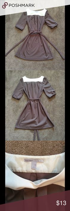 Old Navy Brown & Ivory Belted Dress Old Navy Brown & Ivory Belted Dress, Size Medium (will fit smaller), Worn once Old Navy Dresses
