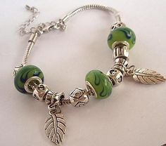 Bright Leaf Green and Silver Pandora Style Charm by MagniGallery, $19.99