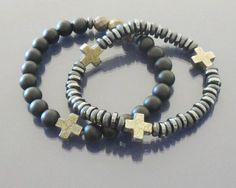 Cross bracelet Hematite bracelet Black onyx by EmpathyGifts