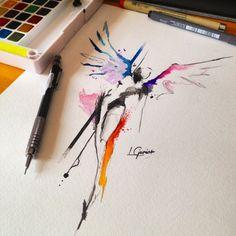 Like a Angel • arte feita para cliente •  me apaixonado pelas loucuras da minha mente • #anjo #angel #tattoo #tatuagem #watercolor #watercolortattoo #abstrato #abstract #sketch #lcjunior #art #arte
