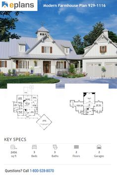 This modern farmhouse style home gives you an open floor plan, big front porch, and plenty of room for modern farmhouse decor. Call 1-800-528-8070 today. #architect #architecture #buildingdesign #homedesign #residence #homesweethome #dreamhome #newhome #newhouse #foreverhome #interiors #archdaily #modern #farmhouse #house #lifestyle #design