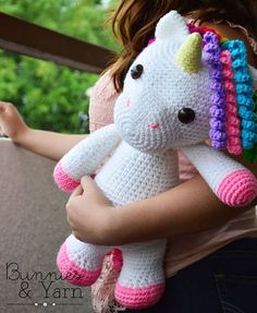 ***THIS IS A CROCHET PATTERN, NOT THE ACTUAL TOY***  English Pattern Only. This pattern uses US Crochet Terms. The file contains a chart to show some conversions to UK Crochet Terms.  Make your own Mimi the Unicorn with this CROCHET PATTERN.  The pattern includes instructions on how to make a cute Crochet Unicorn.  This PDF pattern includes 8 pages with step by step instructions and photos, so you can crochet your own toy.  Finished Unicorn is about 16 in. (40 cm.) tall.  For this pattern…