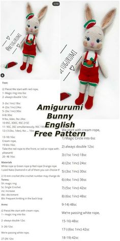 In this article we will share the amigurumi watermelon overalls bunny free crochet pattern. You can find the description of all types of amigurumi on our site. Easter Crochet Patterns, Crochet Bunny Pattern, Crochet Amigurumi Free Patterns, Doily Patterns, Crochet Motif, Crochet Dolls, Free Crochet, Knitting Patterns, Crochet Numbers