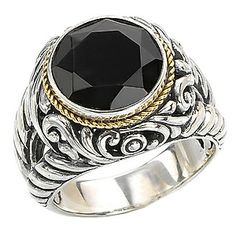 Eleganza Faceted Black Onyx Sterling Silver Ring with Rope and Filigree Detail in 18kt Yellow Gold