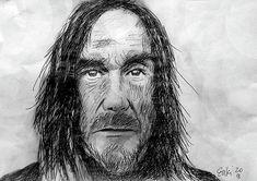 Iggy Pop pen drawing by Enki Art Biro Drawing, Portrait Art, Portraits, Iggy Pop, Punk Art, Post Punk, Live Music, Hard Rock, Rock Bands