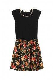 Shoulder Pads Flower Hem Black Dress  $34.99    romwe.com #Romwe
