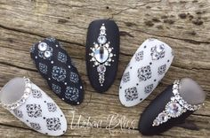 Stamping, Black, White with Silver and Crystal Details