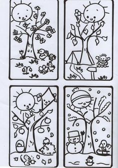 Science Worksheets, Tracing Worksheets, Seasons Of The Year, Four Seasons, Weather For Kids, Kids Education, Diy Paper, Coloring Pages, Kindergarten