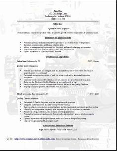 electronic assembly resume quality control resume3 - Assembly Line Resume Sample