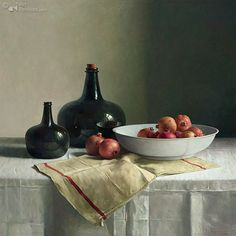 Pomegranates on Chinese dish Henk Helmantel 122.0 x 122.0 cm - Oil on panel - 2014