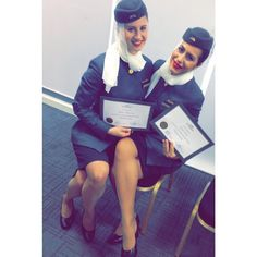 Etihad Airways, Graduation after 7 weeks of training!!! With my beautiful Serbian flatmate! ready to start flying! I've never been so excited before!
