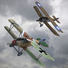 Dog Fight Planes | 3d dogfight ww1 fighter planes model - Sopwith Camel & Albatros DIII ...