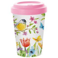 Travel Mug Bamboo Spring Bird 0,4 l  #ppd #paperproductsdesign #travelmug #mug #becher #mehrweg #2go #togo #bamboo #bambus #environmentallyfriendly #umweltfreundlich #spring #frühling #bird #vogel #flowers #blumen