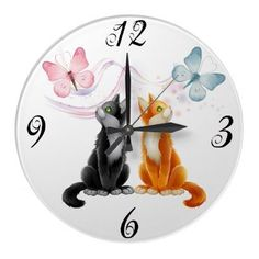 Two Cats and Butterflies Wall Clock by PetsandVets http://www.zazzle.com/two_cats_and_butterflies_wall_clock-256312359003506384?rf=238346027810244797